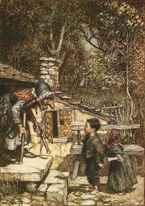 "Hansel och Gretel"" -  Illustration av Arthur Rackham."