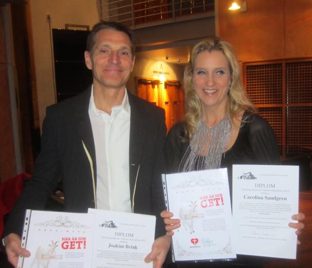 Joakim Brink och Carolina Sandgren - 2015 års stipendiater. Foto: Eskil Malmberg.