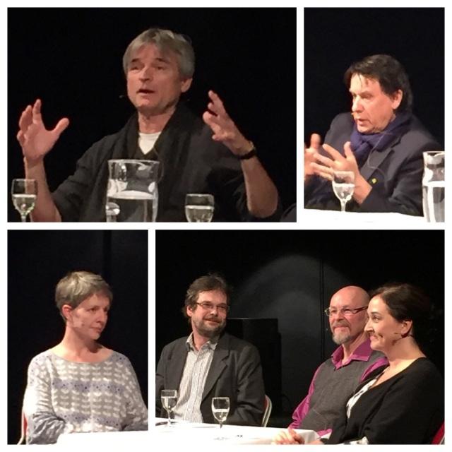 Samtal på GöteborgsOperans Lilla scen den 7 april 2015. Regissör David Radok, Göran Gademan, och sångarna Anders Lorenzon samt Katarina Karnéus.