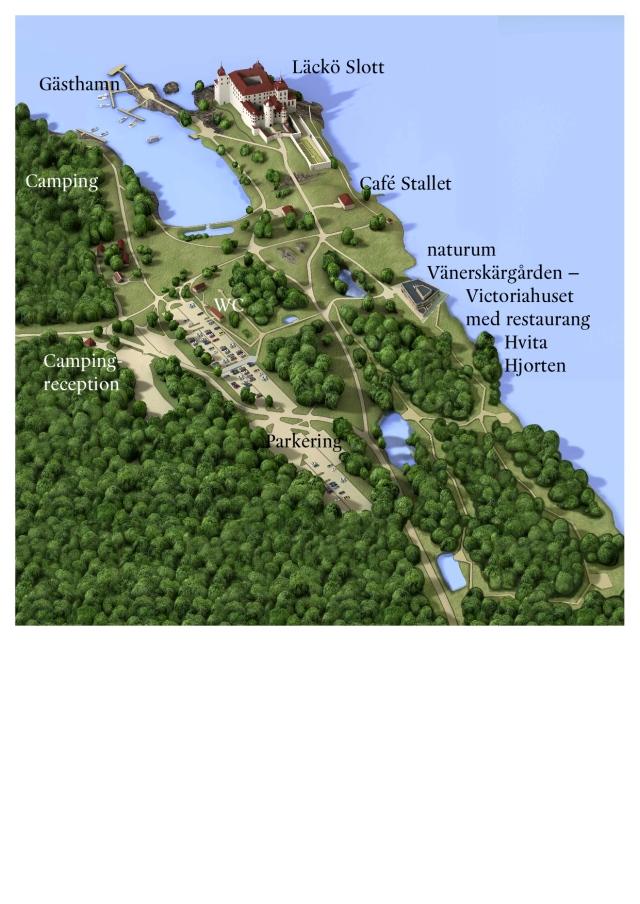 Läackö slott - karta över området.